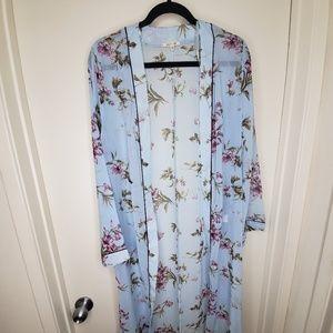 Baby Blue Kimono Cardigan w/ Purple Flowers